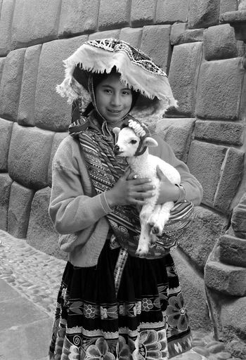 Portrait Cusco, Peru Typical Clothing Travel Photography Monochrome Photography Rickeherbertphotography Girl Holding Sheep The Portraitist - 2017 EyeEm Awards
