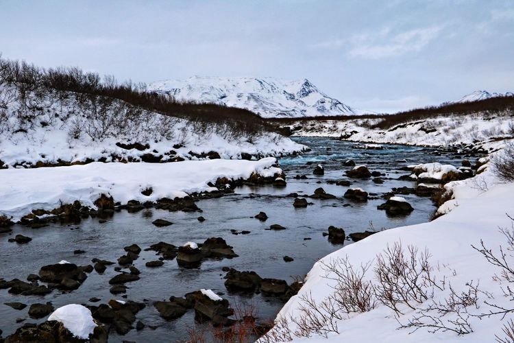 Scenic view of river by snowcapped mountains against sky