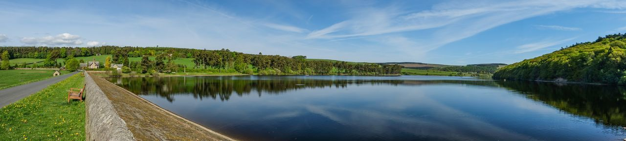 Tunstall Reservoir panoramic EyeEmBestPics Panorama Panoranic View Water Reflections Cloud Cloudscape Clouds And Sky Sky Collection Skyporn Sky And Clouds Fujifilm_xseries Fujifilm Fuji Xt20 EyeEm Best Shots Eye4photography  EyeEm Gallery Reservoir Water Sky Tree Plant Beauty In Nature Tranquility Cloud - Sky Scenics - Nature Tranquil Scene Green Color Idyllic Reflection