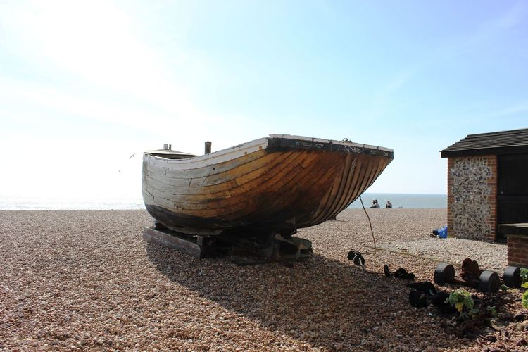 Resting Boat Beach Sea Sand Nautical Vessel Sunlight Sky Horizon Over Water