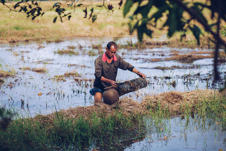 Farmer working on agricultural field