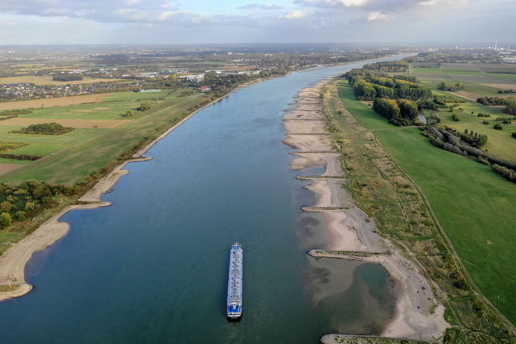 rural area at Rhine river near Cologne Water Nature No People Sky Drone Photography Aerial Shot River Boats Sky And Clouds River Beach Scenics - Nature Outdoors