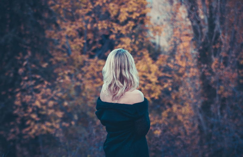 Adult Blond Hair Change Contemplation Day Focus On Foreground Forest Hair Hairstyle Land Lifestyles Long Hair Nature One Person Outdoors Plant Real People Rear View Standing Three Quarter Length Tree Women WoodLand