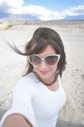 Selfie Faces Of EyeEm Healthy Living Active Adults Background Beach Beautiful Woman Brunette Casual Style And Fashion Fashionista Lifestyles Mature Woman Taking A Selfie Mature Woman Wearing Sweater Messy Hair In Blowing In The Wind Models With Long Hair One Person Outdoors People Real Life Collection Real People Sand Selfies Sky Sunglasses Woman In Nature Women On A Walk