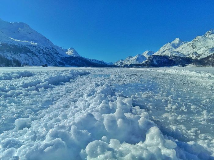 frozen lake Perspectives on Nature Naturelovers Landscape Switzerland Swiss Alps Snow Frozen Water Cold Temperature Mountain Winter Water Blue Frozen Lake Polar Climate Frozen Lake Iceberg - Ice Formation Snowcapped Mountain Ski Track Cold Iceberg