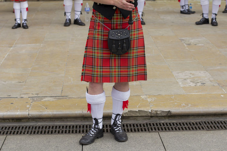 Asturias SPAIN Summer Sunny Outdoors City Street Festival Music Musician Costume Tradition Traditional Clothing Scottish Pipe Band Kilt Bagpipes Low Section Human Leg Body Part Human Body Part Real People People Clothing Uniform Standing Man Lifestyles