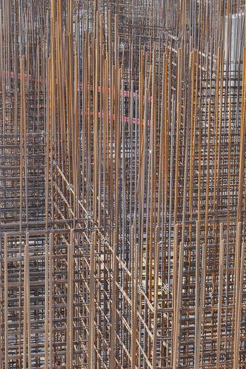 Full frame shot of bamboo on building