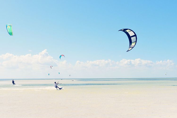 Kite Surfing Kitesurfing Kite Surfers Colorful Adventures Photography people and places Tourist Destination Sports Sports Photography Beach Sea Flying Mid-air Kite - Toy Horizon Over Water Sky Blue Water Nature Day Sand Clear Sky Outdoors Scenics