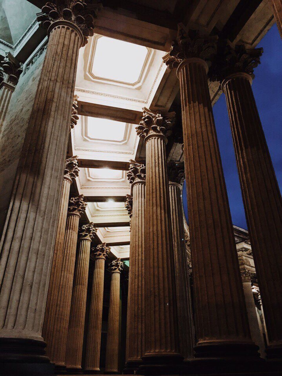 architecture, built structure, architectural column, low angle view, history, travel destinations, no people, day, indoors, sky