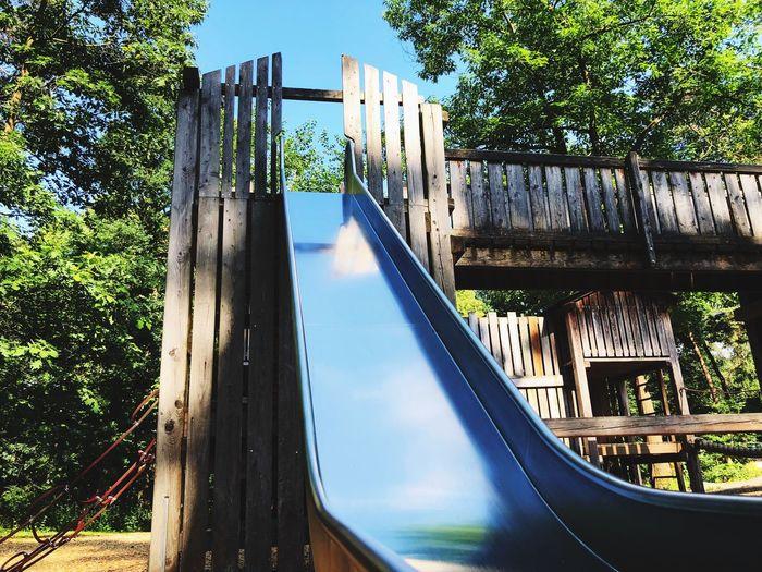 Kinderspielplatz / Playground - Rutsche Flaesheim Playground Equipment Playground Spielplatz Kinderspielplatz Water Nature Tree Day Plant Reflection No People
