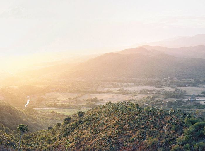 Above Trinidad 🇨🇺 Film Photography Mountain Nature Beauty In Nature Tranquil Scene Scenics Tranquility Landscape Mountain Range Idyllic Tree Outdoors Remote No People High Angle View Sky Sunset Day Rural Scene