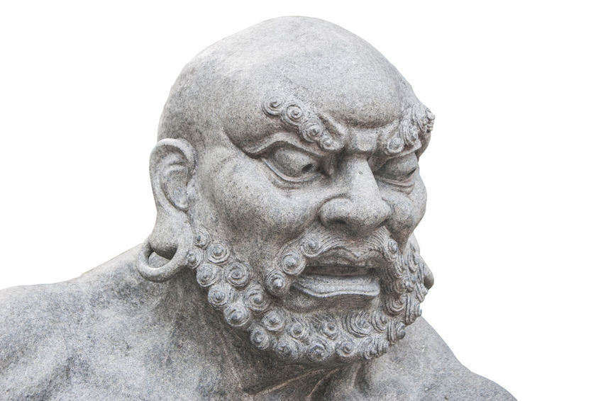 Isolated white background with clipping path Anggry Angry Face China Chinese Chinese Culture Clipping Path Close-up Culture Human Representation Isolated Statue Statue Thailand Thai Thailand White Background