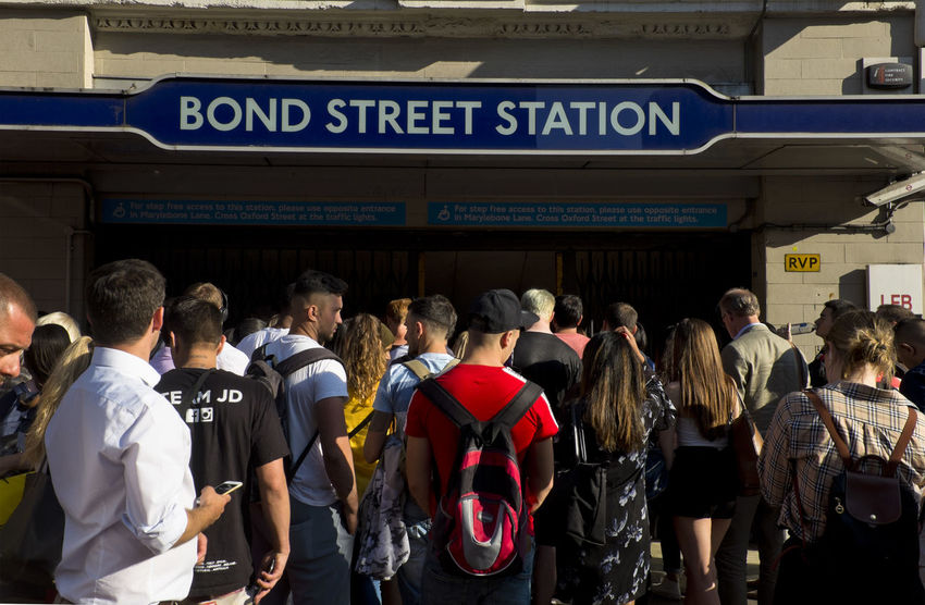 People outside the underground station in Bond Street on 3rd of July 2018 in London, United Kingdom. Bond Street is a London Underground and future Elizabeth line station in Mayfair, in the West End of London. It is located on Oxford Street, near the junction with New Bond Street. (photo by Lorenzo Grifantini) Tube Underground Adult Arrival Bond Street City Group Of People Large Group Of People Lifestyles Men Mode Of Transportation Oxford Street  Transportation Travel Waiting