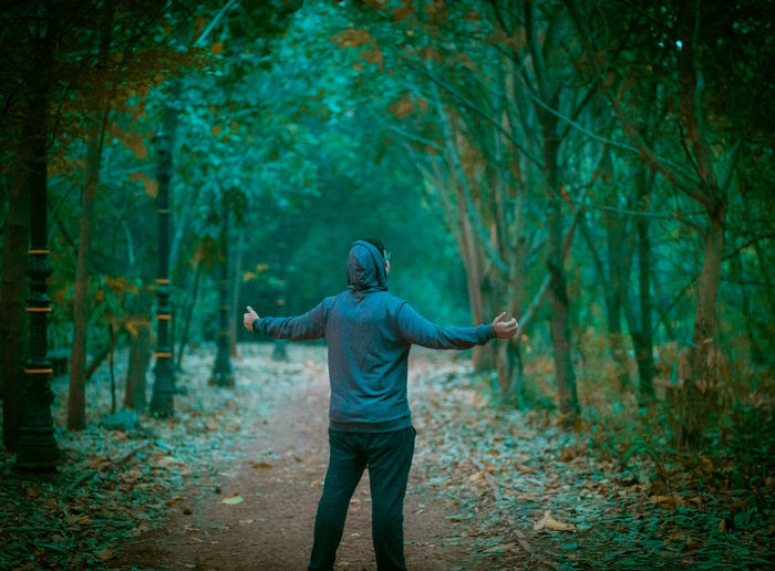 Rear view of man standing in forest