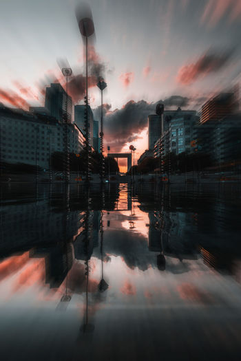 Architecture Building Building Exterior Built Structure City Cloud - Sky Digital Composite Dusk Nature No People Orange Color Outdoors Puddle Reflection Sky Standing Water Sunset Symmetry Water Waterfront