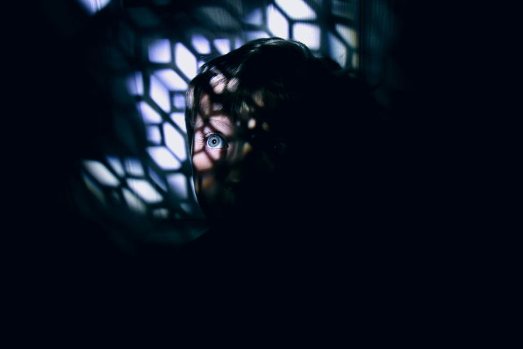 Captive. Blue Child Cinematic Conceptual Creepy Dark Darkness And Light Day Eye Halloween Hidden Horizontal Indoors  Night One Person People Person Portrait Secret Places Truth