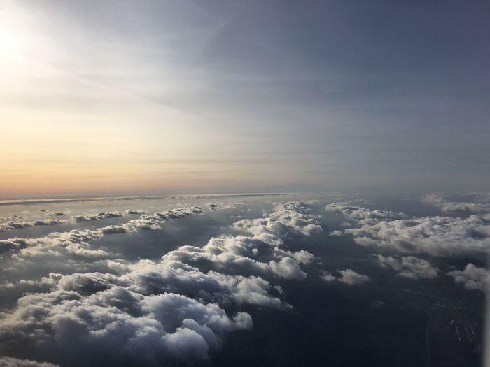 Sky Beauty In Nature Aerial View Cloud - Sky Cloudscape Tranquility Tranquil Scene Nature Scenics Airplane No People Sunset EyeEmNewHere