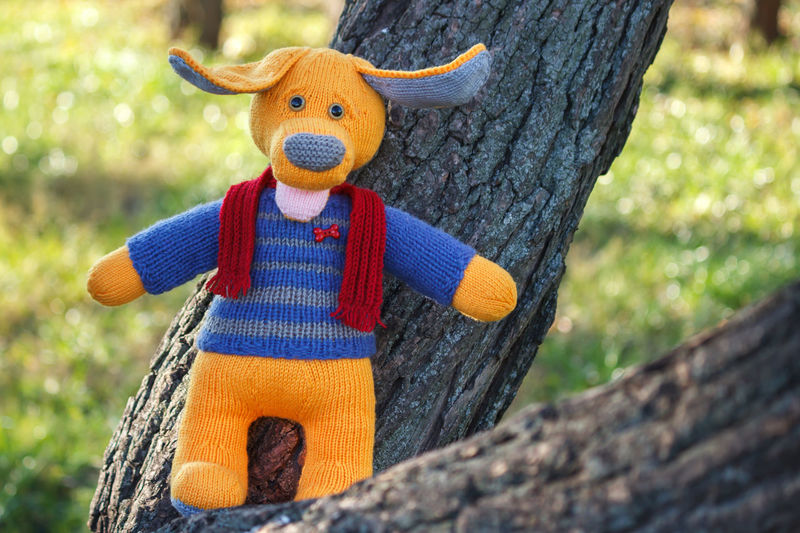 Knitted dog in the tree Knitting Hobby Knitt Hobbycraft Woolen Eared Season  Toy Dog Knitted Dog Knitted Toy Yellow Outdoors Handmade Handicraft Handiwork Fall Autumn Tree Smiling Happiness Woods Toy Animal Craft Dog Lead