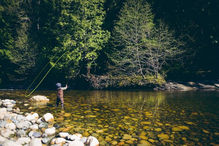 A 10 Years Old boy Fly Fishing on the Englishman River in Parksville Bc on Vancouver Island Canada