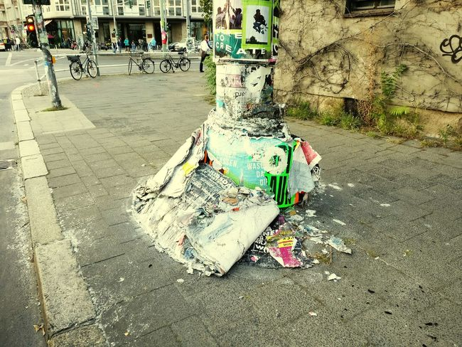 Discover Berlin Day Outdoors No People Streetphotography Street Trash Berlin City Street City Sidewalk Posters Ads
