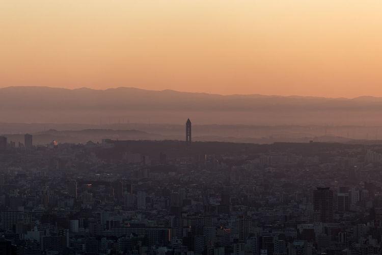 Aerial View Cityscapes Dawn Nagoya-shi Sunrise Urban