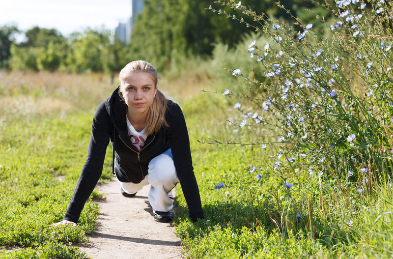 Athlete Attractive Blue Sky Caucasian Field Fitness Girl Healthy Jogger Leisure Meditation Motion Nature Outdoors Outside Park Summer Training Woman Young