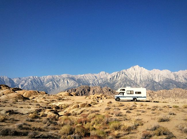 Mountain Sierras Sierra Nevada Sierra Nevada Mountains Sierra Nevadas Transportation Rv Trailer Clear Sky Mode Of Transport Landscape Land Vehicle Camping Scenics Motor Home Mountain Range Remote Day Tourism Mountain Peak Vacation Roadtrip Blue Motorhome Alabama Hills