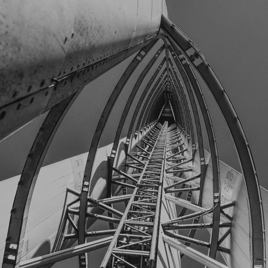 Inside of the Glasgow Tower Glasgow  Glasgow Tower Architecture Arts Culture And Entertainment Blackandwhite Building Exterior Built Structure Connection Day Fairground Ferris Wheel Leisure Activity Low Angle View Metal Nature No People Outdoors Pattern Sky Steel Travel Destinations