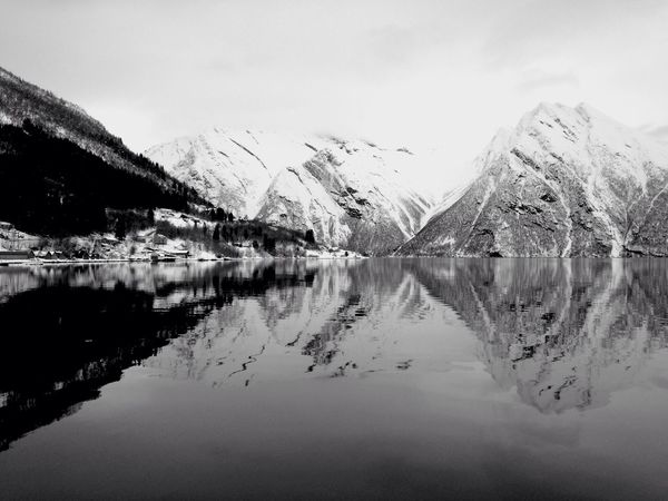 Fjord Mountains Winter Snow At Home Norway Reflection Water Reflections Black And White Mirror