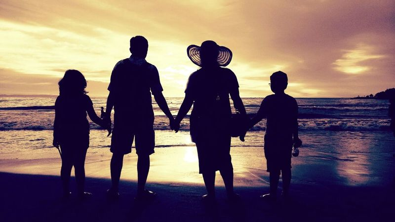 together we can This Is Family Friendship Togetherness Sunset Men Full Length Beach Water Silhouette Women Standing EyeEmNewHere