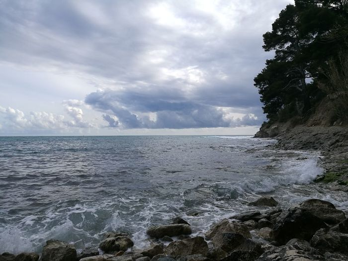 Seascape Sea And Sky Seaside Mediterranean  Spring Power In Nature Cyclone Thunderstorm Coast