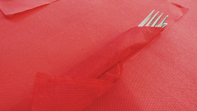 The Fork On The Table Fork Red Red Background Metal Paper