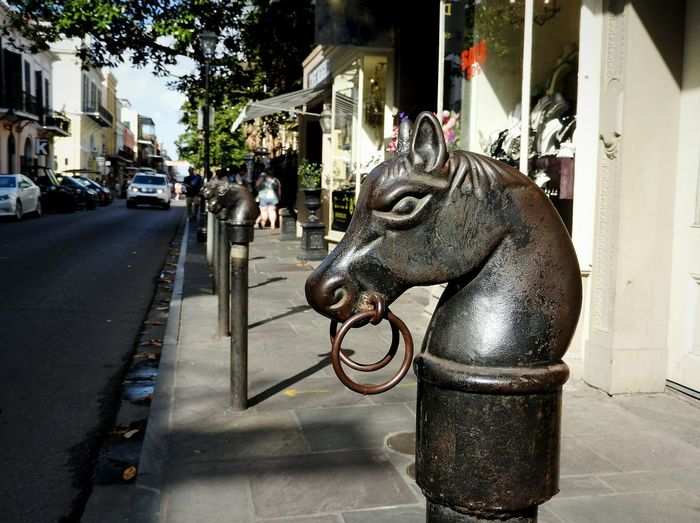 Dark Knight ~ Horse Head Knight  Metalhead Loop Horse Power ArtWork Metal Post Ornamental Horse And Carriage Streetphotography Southern Charm City Statue Sculpture Tree Street Architecture Carving - Craft Product