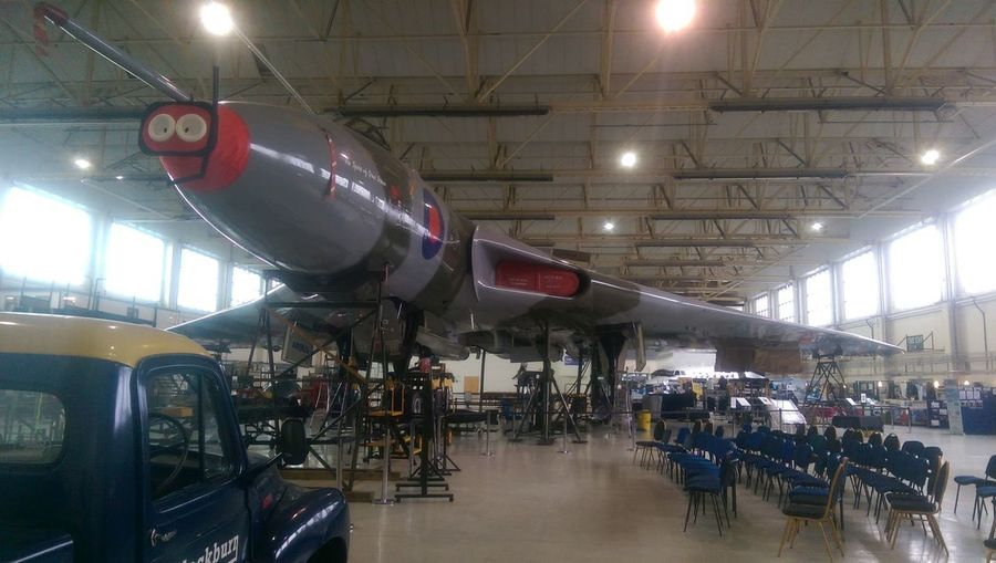 Bomber Vulcan Xh558 Aerospace Industry Air Vehicle Airplane Airport Architecture Business Comic Relief Indoors  Mode Of Transportation Plane Rednose  Transportation Travel Xh558vulcan