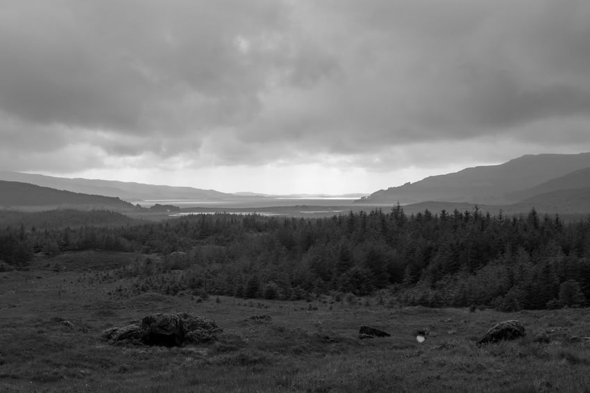 Isle of Mull, Scotland - dramatic sky over a beautiful landscape, black and white Beauty In Nature Black & White Blackandwhite Blackandwhite Photography Cloud - Sky Clouds And Sky Landscape Monochrome Mountain Nature Outdoor Photography Outdoors Scenics Scotland Sky Tranquil Scene Tranquility