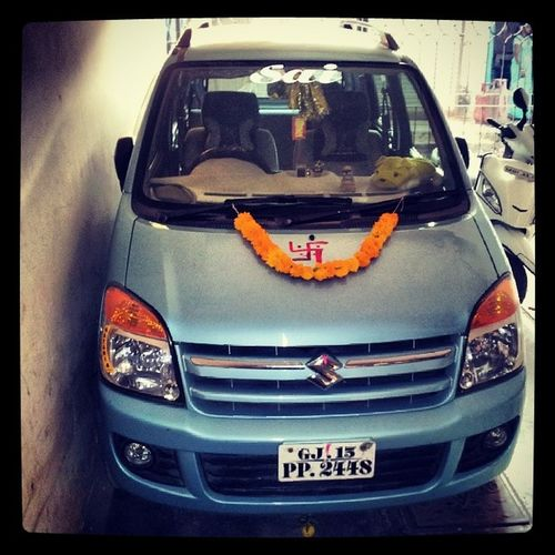 My Car Sky Blue Decorate car New year Day early morng very cool weather Beauty Dharampur Gujarat instabeauty instalike instayummy instashare inatamood instaforward instacool