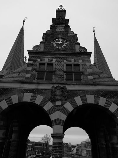 Detail Of Famous Building In Sneek Black & White Architecture Sky Building Exterior Built Structure Travel Destinations Tower Silhouette City No People Outdoors Day