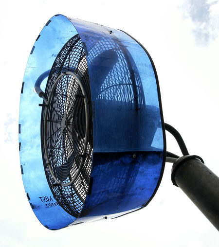 Blue Close-up Day Low Angle View Metal No People Outdoor Fan For Restaurant Outdoors Sky