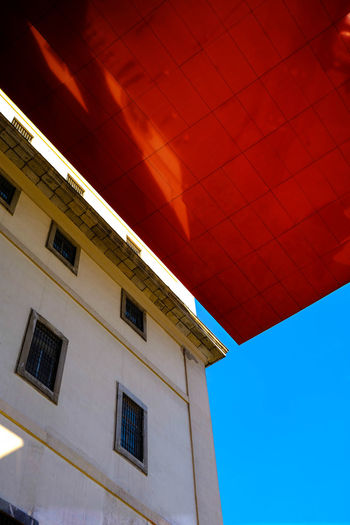 Madrid Reina Sofía  Architecture Art Blue Blue Sky Building Building Exterior Built Structure City Clear Sky No People Outdoors Red Red Color Reina Sofía Museum Madrid Sky Window