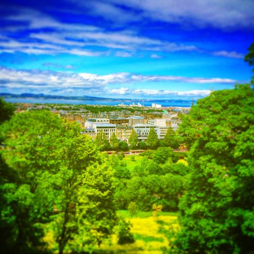 Edinburgh City Cityscapes Landscape Green Architecture Park Sea Scotland