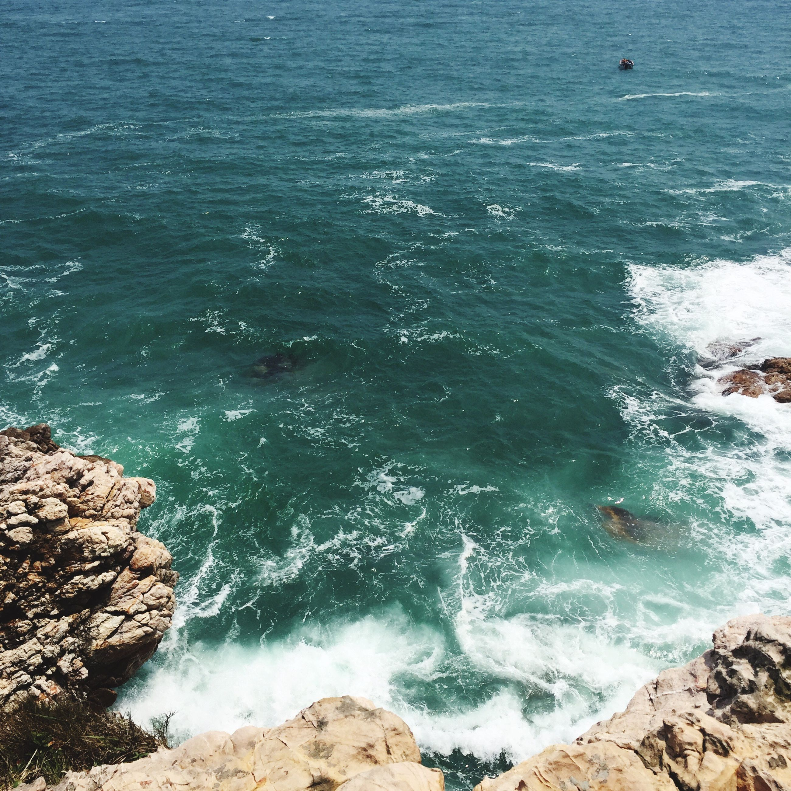 sea, water, high angle view, nature, outdoors, day, no people, beauty in nature, beach, scenics, wave, sky