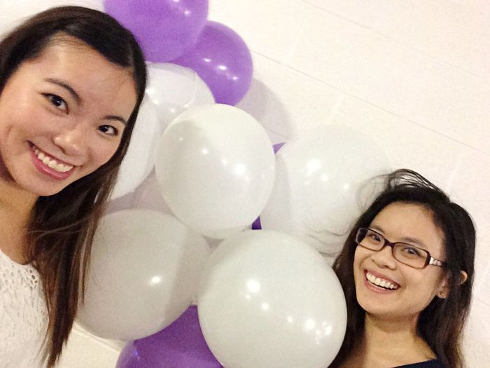 Hiding with balloons for a friend's surprise Proposal