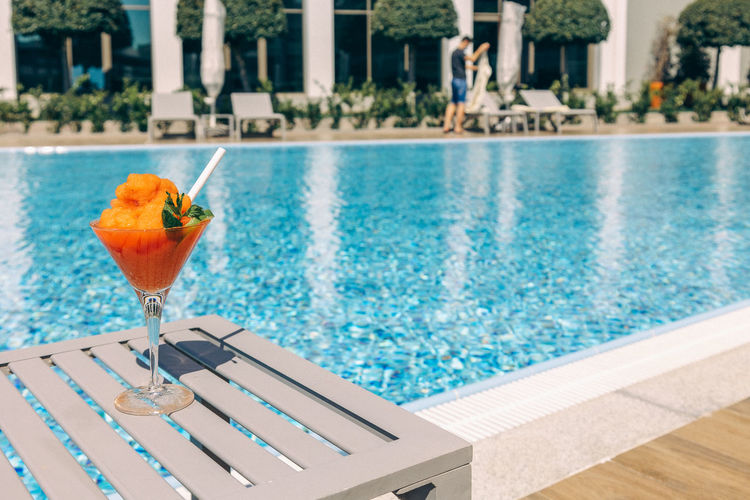 View of drink in swimming pool