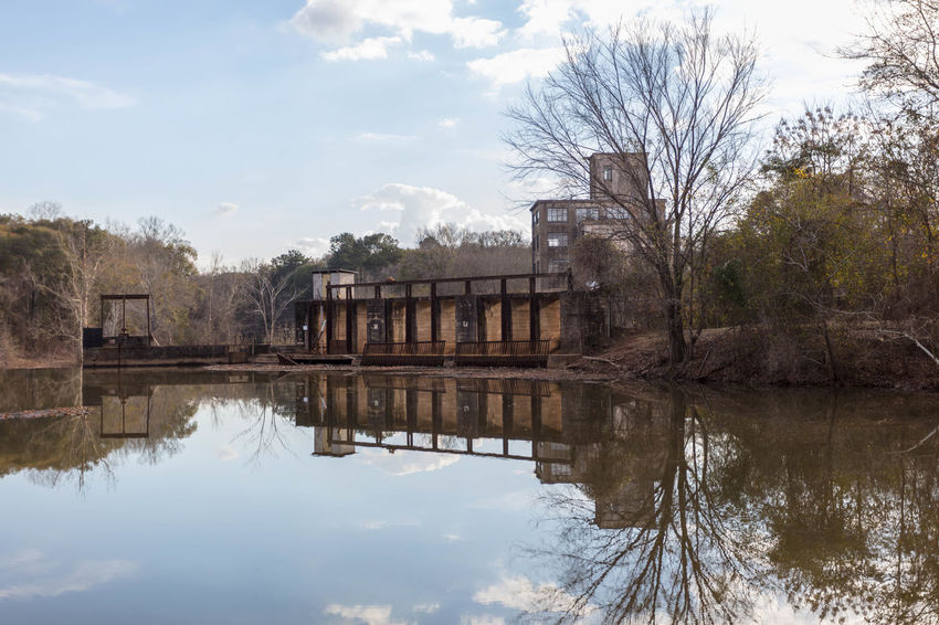 Old Juliette Mill Built Structure Cloud - Sky Day Mill Nature No People Outdoors Reflection Reflection Lake Sky Tree Water