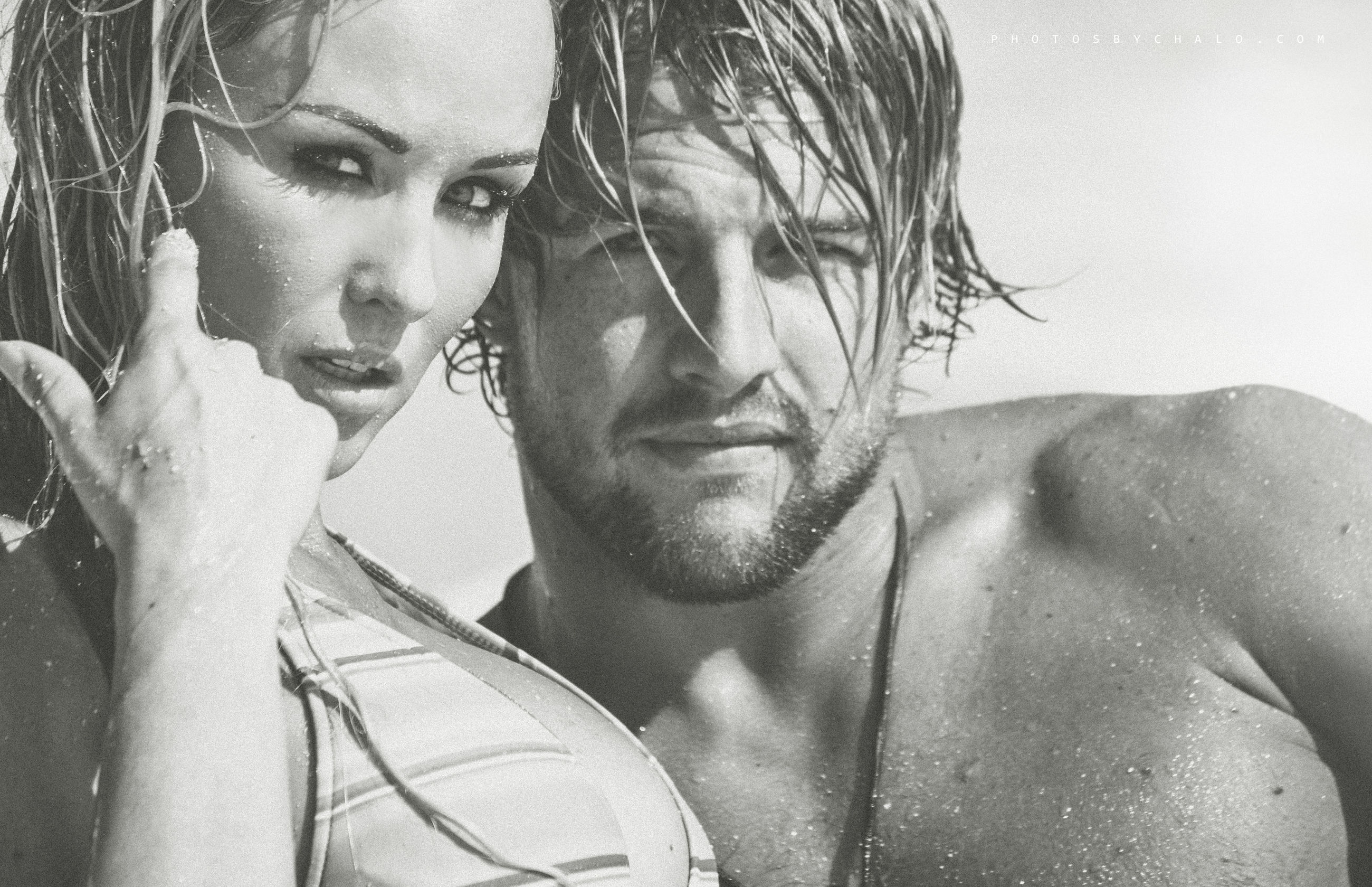 portrait, young adult, young men, real people, headshot, lifestyles, men, front view, people, two people, looking at camera, shirtless, young women, close-up, leisure activity, wet, beard, togetherness, couple - relationship, wet hair
