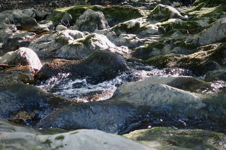 High angle view of river flowing through rocks