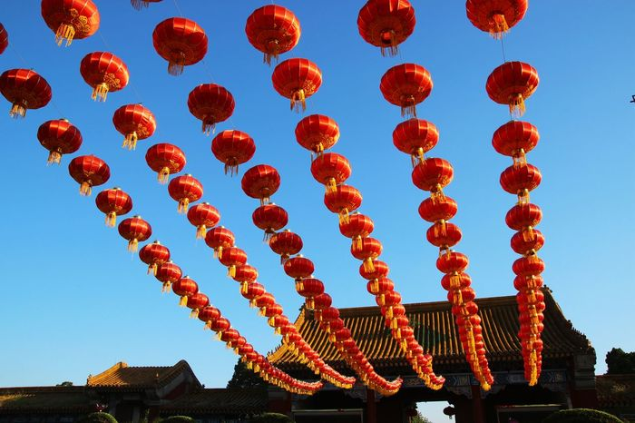 red lantern LINE Celebration Chinese Lantern Clear Sky Cultures Hang Lantern Low Angle View Outdoors Red Sky