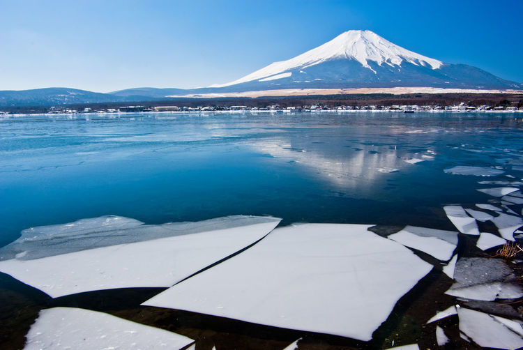 Mountain Water Winter Cold Temperature Snow Scenics - Nature Beauty In Nature Tranquility Tranquil Scene Sky Nature No People Reflection Lake Snowcapped Mountain Day Blue Travel Destinations Outdoors Mountain Peak Mt.Fuji Fuji Japan Photography Japan Ice