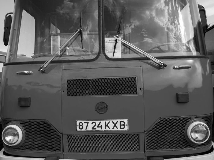 Old car fest. Bus LiAZ-677 Antique Black And White Bus Car City Exebithion Fest Journey Land Vehicle LiAZ-677 Mode Of Transport Monochrome No People Old Public Transport Retro Transportation Vintage