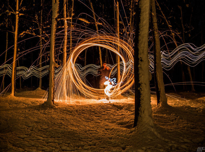 Long Exposure Motion Illuminated Night Wire Wool Speed Blurred Motion Light Painting Glowing Spinning Fire Skill  One Person Burning Real People Light Trail Men Fire - Natural Phenomenon Lifestyles Creativity Sparks Outdoors